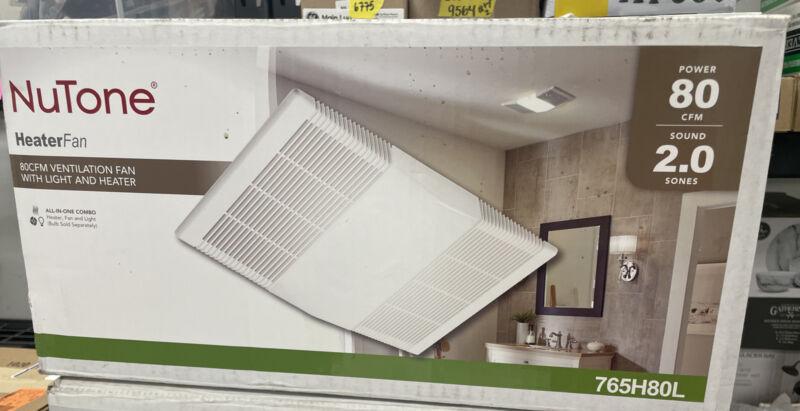 NuTone 765H80L 80 CFM Ceiling Bathroom Exhaust Fan + Light +1300W Heater