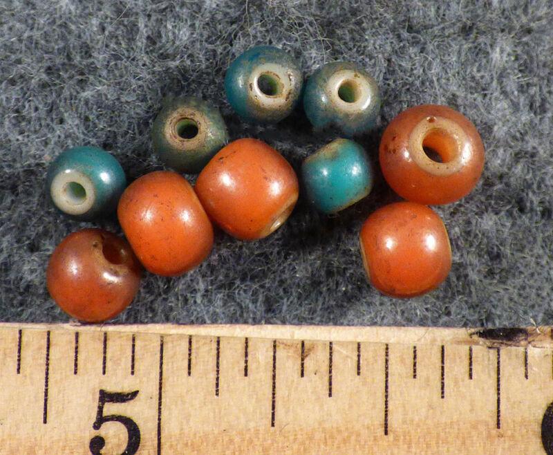 10 Original Plains Indian White Heart Trade Beads Blue Red Pre1800