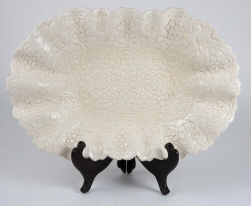 Antique  porcelain Serving Plate Crinkle Edge Floral Pattern Artist Signed