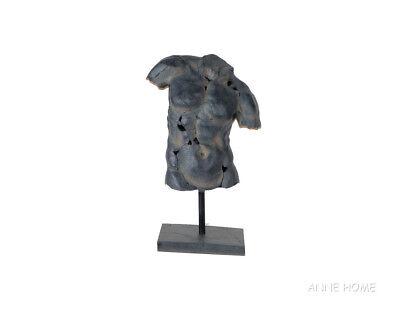 """Rustic Nude Male Torso Sculpture Figurine Statue 26"""" Ancient Greek Roman Decor"""