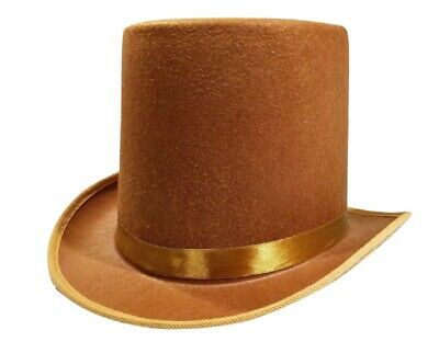 Tall Brown Willy Wonka Dickens Caroler Steampunk Coachman Top Hat Topper Costume