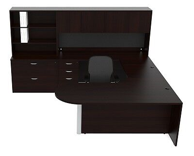 New Amber Bullet U-shape Executive Office Desk With Hutch File Cabinet Storage