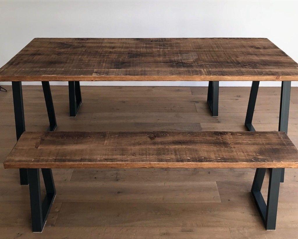 Industrial Rustic Wood Steel Oak Pine Metal Kitchen Dining