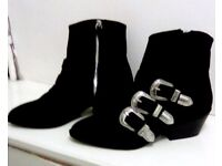 CHELSEA BOOTS GOTHIC BLACK WESTERN STYLE BUCKLES H&M NEW SIZE 38