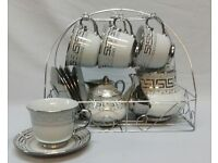 NEW 15PC CHINA SILVER DESIGNER DESIGN TEA SET WITH DISPLAY STAND,CUPS,TEA POT