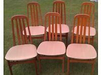 6 HIGH BACK DINING CHAIRS - WOOD FRAMES MEDIUM TONE - FABRIC SEATS