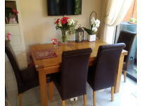 Solid Rustic Oak Dining Table + 6 Chairs by Oak Furniture Land