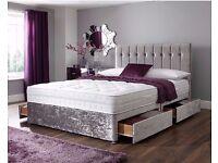 ░▒ ( Hot Special ) ▒░ CRUSHED VELVET DIVAN BED + MATTRESS HEADBOARD - SINGLE DOUBLE KING