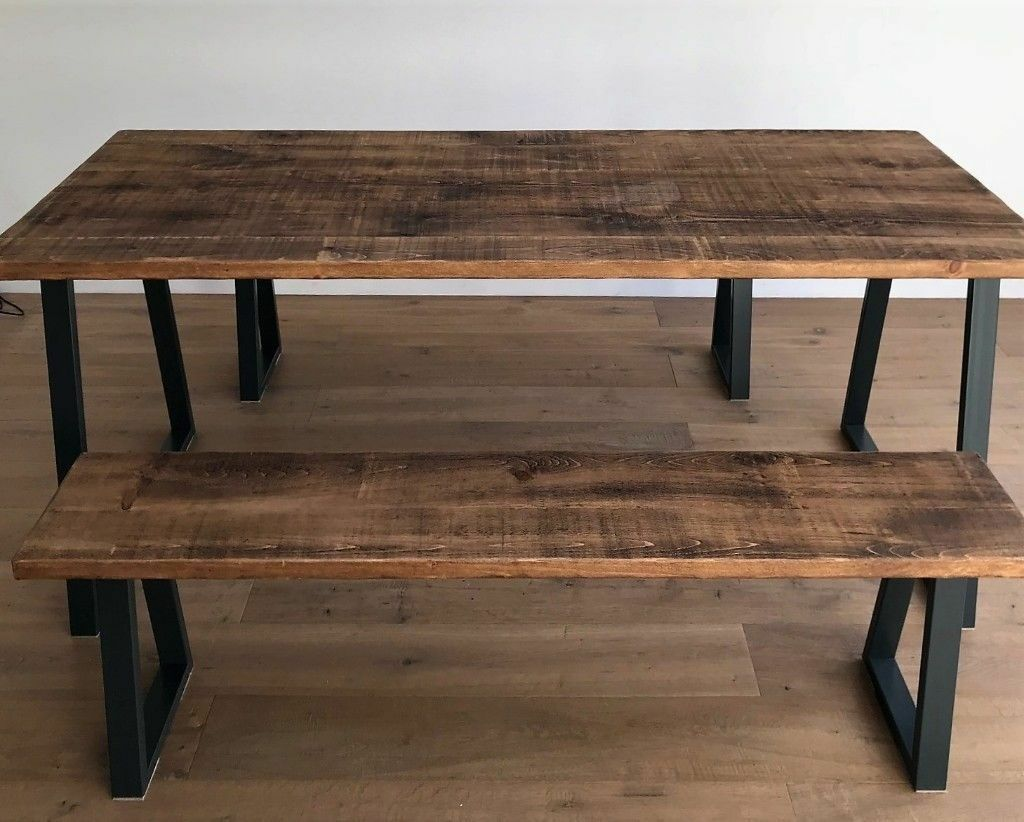 Industrial Rustic Wood Steel Oak Pine Metal Kitchen Dining Table Benches