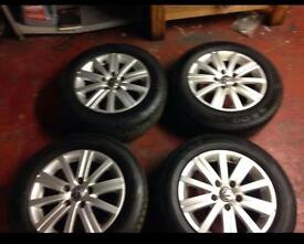 4x vw alloy wheels with tyres