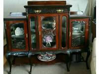 Edwardian glass display cabinet