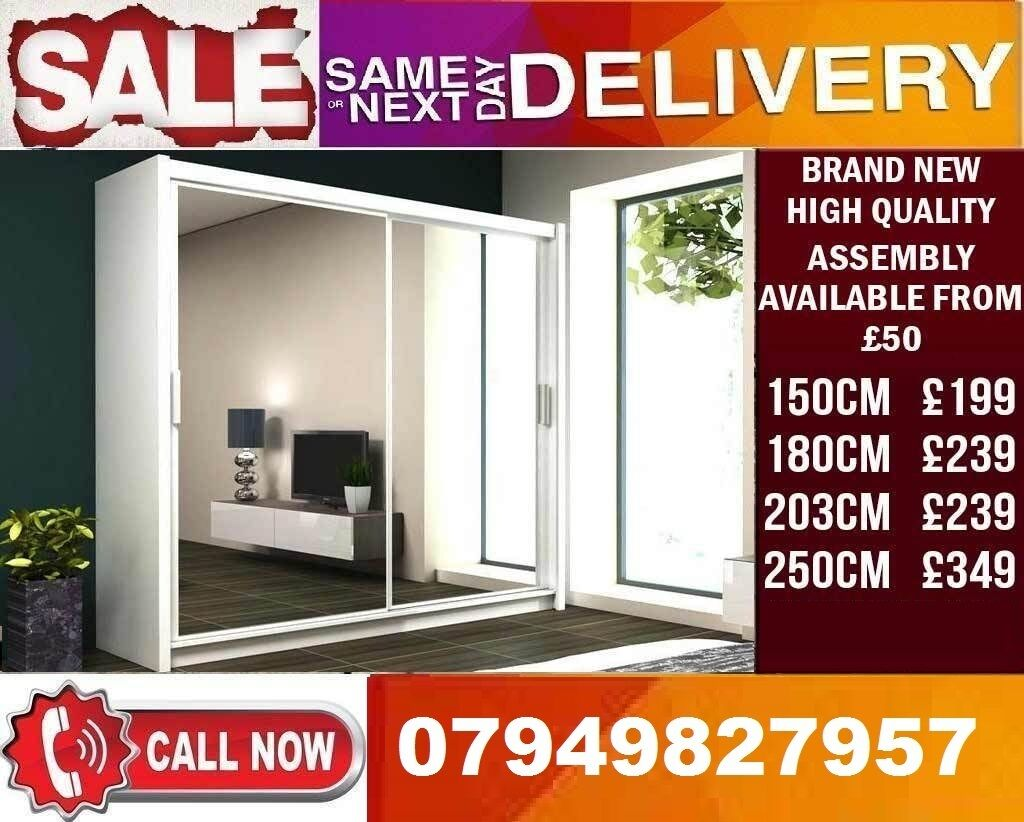 CLASSIC BRAND NEW 2 OR 3 DOOR WARDROBE (SLIDING) MIRRORin Romford, LondonGumtree - Dimensions Height 216cm Depth 62cm Width 150,180, 203, 250cm Specifications 10 Shelves 2 Hanging Rail Flat Pack in Boxes Requires Self Assembly Colours Black, Dark Browm, Grey, Oak Sonoma, Walnut, White