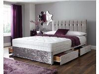 🚚🚛SAME DAY FAST DELIVERY🚚 BRAND NEW-Double / Small Double Divan crush velvet With Mattress