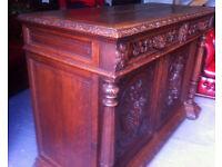 """Heavily carved oak """"Buffet de Corp server"""" sideboard"""