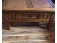Solid pine varnished coffee table with a drawer