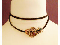 Brown Dual Band Boho Chic Faux Suede Choker Necklace Gemstone Ornate Pendant.