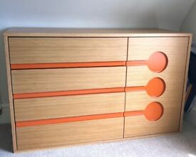 Chest of drawers for children's bedroom/playroom. Oak with orange detail. Excellent condition.