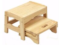 SAFETY 1ST WOODEN 2 STEP STOOL. KIDS STEP UP STOOL. NEW IN BOX.