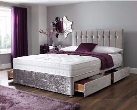 BLACK OR SILVER - NEW DIVAN CRUSHED VELVET BED AND DEEP QUILT MATTRESS -BLACK MINK AND SILVER