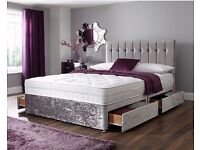 CRUSHED VELVET DIVAN BED BASE WITH DEEP QUILTED MATTRESS*70% OFF* **DOUBLE SINGLE AND KINGSIZE**