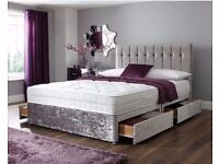 BEST SELLING BRAND-- BRAND NEW DOUBLE / KING CRUSHED VELVET DIVAN BASE BED WITH DEEP QUILT MATTRESS