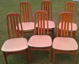 6 HIGH BACK DINING CHAIRS - MEDIUM WOOD FRAMES - FABRIC SEATS