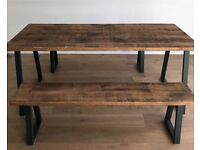 Industrial Reclaimed Rustic Oak Pine Wood Steel Metal Kitchen Dining Table Benches - Free Delivery