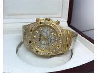 Audemars piguet diamond fully iced out gold not Rolex Cartier