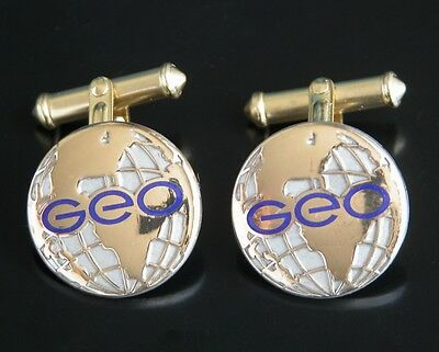 The Geo Group Inc World Logo Cufflinks Silver Tone Gold 1 20 12K Gf Cufflinks