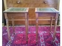 A Pair of Solid Wood Side Tables with Green Leather Inset Tops