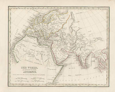 North Africa Europe Asia Map Vintage, 1835 by Bradford Original Antique Map - b