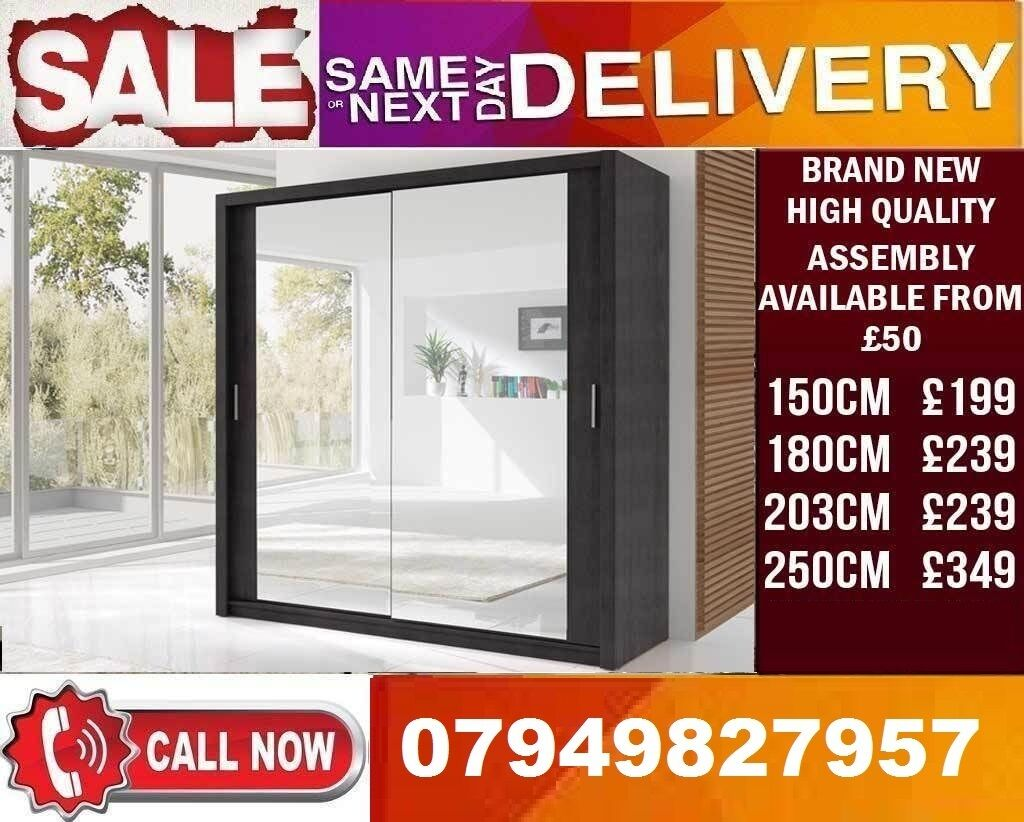 CLASSIC BRAND NEW 2 OR 3 DOOR WARDROBE (SLIDING) MIRRORin East London, LondonGumtree - Dimensions Height 216cm Depth 62cm Width 150,180, 203, 250cm Specifications 10 Shelves 2 Hanging Rail Flat Pack in Boxes Requires Self Assembly Colours Black, Dark Browm, Grey, Oak Sonoma, Walnut, White