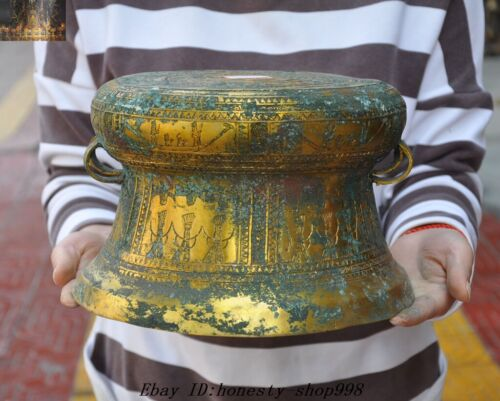 Old Chinese Bronze Gilt Dynasty People Man Beast Drum Musical Instrument Drums