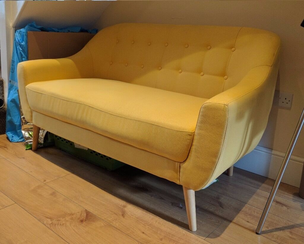 Hygena Lexie Retro Modern 2 Seater Sofa Yellow Good
