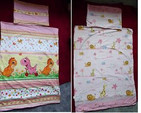 TWO COT BEDDING SETS for girls– pillow case & duvet cover with covered zips. BARGAIN! May deliver