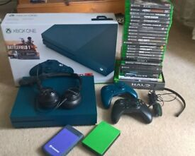 Xbox One S Navy Blue with box, 24 Games, Turtle Beach Headset! 5TBs of Hardrives and 2 controllers!+