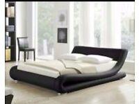 Black Leather King Size Bedframe