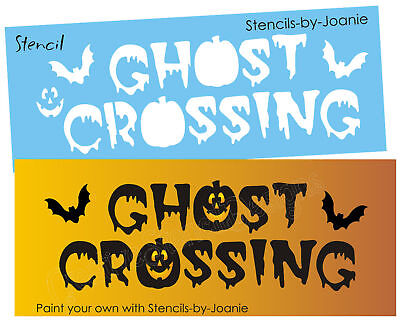 Halloween Stencil Ghost Crossing Pumpkin Jacks Flying Bats Creepy Prim Art - Halloween Bat Stencils Pumpkins