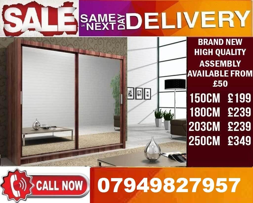 CLASSIC BRAND NEW 2 OR 3 DOOR WARDROBE (SLIDING) MIRRORin Woodford, LondonGumtree - Dimensions Height 216cm Depth 62cm Width 150,180, 203, 250cm Specifications 10 Shelves 2 Hanging Rail Flat Pack in Boxes Requires Self Assembly Colours Black, Dark Browm, Grey, Oak Sonoma, Walnut, White
