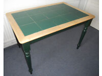 Green Painted and Tile Topped Kitchen or Dining Table