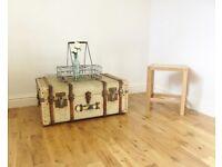 Vintage Canvas Steamer Trunk / Storage Chest / Coffee Table
