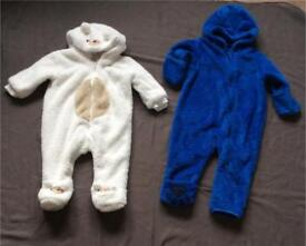 Two all in one suits vgc 6-9 month and 6 /12 months