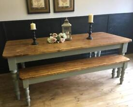 6FT NEW HANDMADE SOLID PINE FARMHOUSE TABLE AND TWO BENCHES