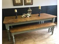 7FT NEW HANDMADE PINE FARMHOUSE TABLE AND BENCHES