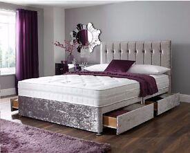 SAME DAY AVAILABLE *CRUSHED VELVET DIVAN BED + MEMORY MATTRESS HEADBOARD 3FT 4FT6 Double KINGSIZE5FT