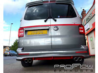 VW T5 Transporter fitted with a Proflow Stainless Steel Custom Middle and Rear Exhaust!