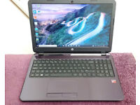 HP Laptop. Quad Core 2GHz, 8GB Ram, 1TB Hard Drive, HDMI, Webcam, Wifi, USB3, Mains charger.