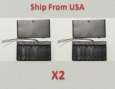 2 Pcs New 8 AA 2A Cells Battery 12V Clip Holder Box Case with Switch Black