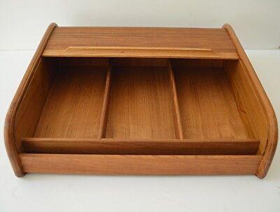 Vtg Eppco Teak Wood Roll Top Divided Storage Cabinet Desk Organizer Cassettes