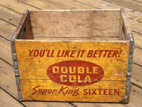 VINTAGE KEWAUNEE BOTTLING CO. DOUBLE COLA ORANGE CRUSH WOOD CRATE ADVERTISING